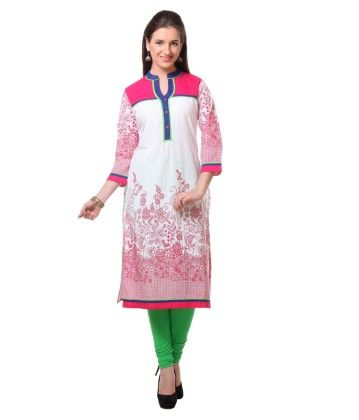 White And Pink Printed Kurti - Riti Riwaz
