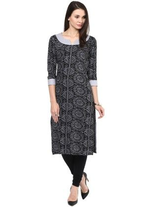 Black And Grey Printed Kurti - StyleStone