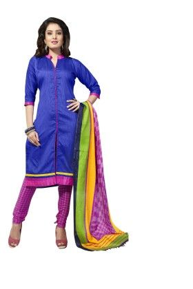 Royal Blue Solid Semi Sticthed Suit With Matching Dupatta - Varanga