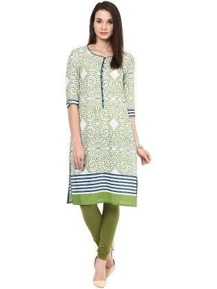 Green And Blue Printed Kurti - StyleStone