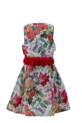 Multicolor-red Crepe Floral Print Dress - Magic Fairy