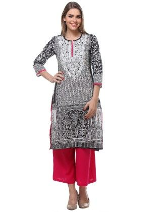 Front And Back Pannel Print Kurta - Riti Riwaz