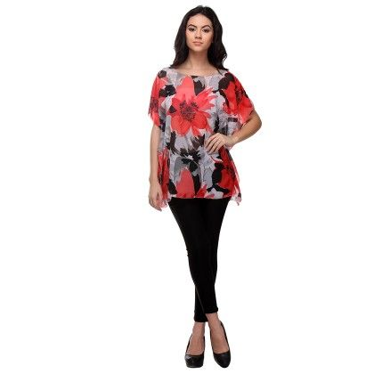 Multi-colour Big Floral Printed Top - Varanga