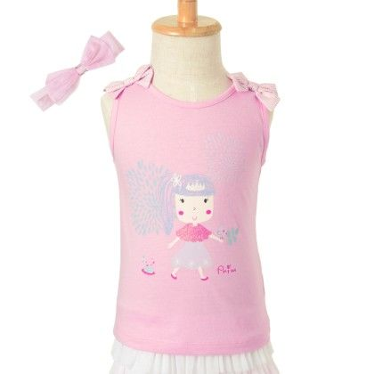 Cotton Jersey Top With Print - Pink - Primme Girl