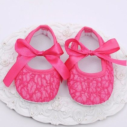 Bright Pink Baby Girls Shoe With Lace Design - Angel Closet