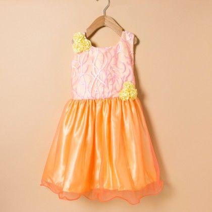 Double Colored Dress With Yellow Satin - Winakki Kids