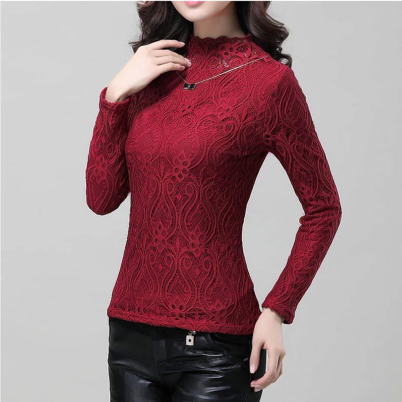Maroon Lace Sweat T Shirt - STUPA FASHION
