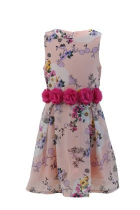 Peach-pink Georgette Floral Print Dress - Magic Fairy