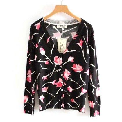 Black Floral Printed Short Cardigan - Violette