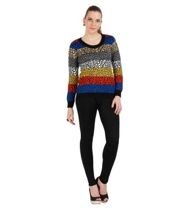 Geometric Designed Womens Sweater -multi - SKILDERS