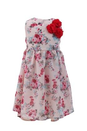 Rose Pink Georgette Floral Printed Dress - Magic Fairy