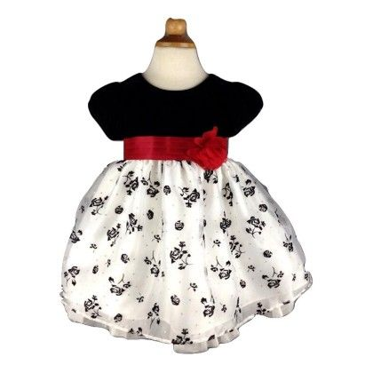 Baby Party Wear, Beautiful Princess Dress-black And White - Cherry Blossoms