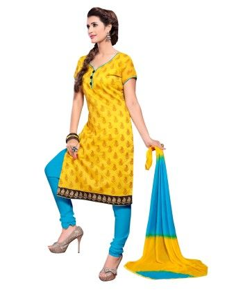 Yellow Printed Chanderi Dress Material With Matching Dupatta - Riti Riwaz
