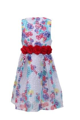 White-red Georgette Floral Print Dress - Magic Fairy