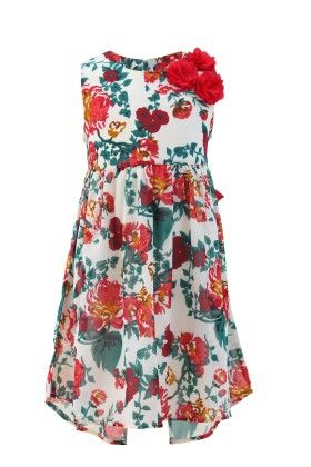 Ivory-red Georgette Floral Printed Dress - Magic Fairy