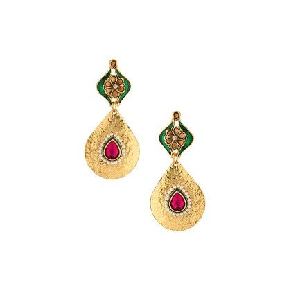 Pink Stones Studded Gold Danglers - Voylla
