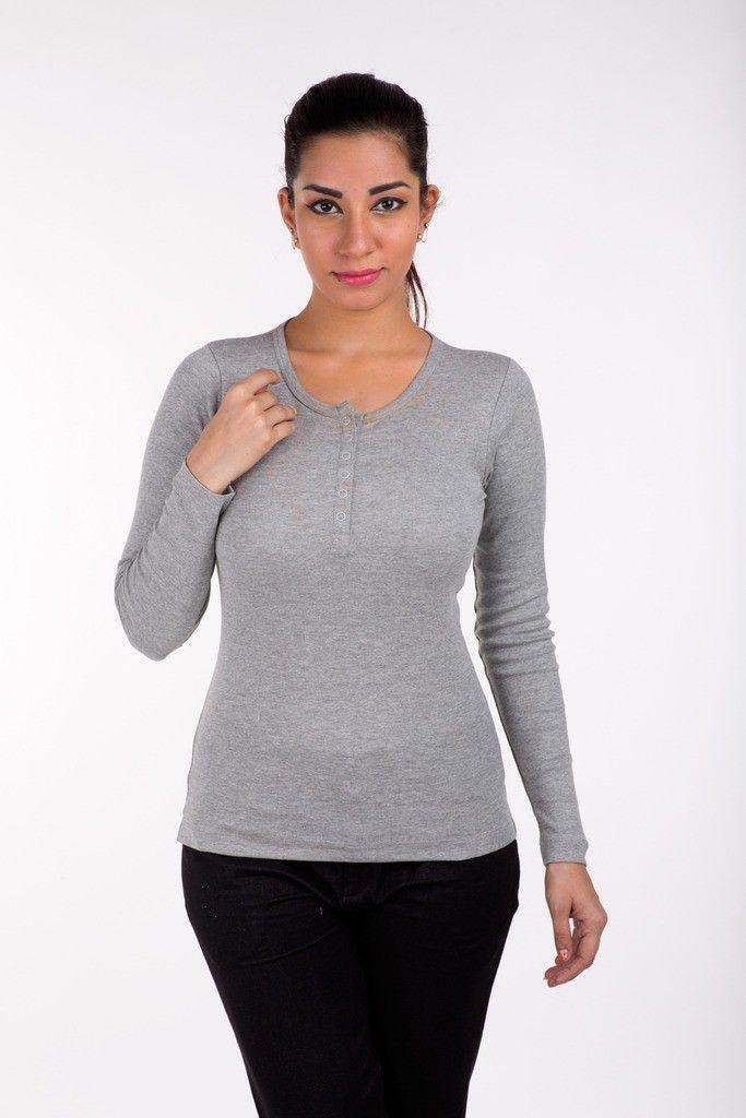 Full Sleeve Tops Solid Cotton Grey Melange - De Moza