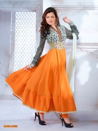 Orange Cotton Dress Material - Touch Trends Ethnic