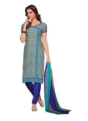 Sky Blue Printed Dress Material With Matching Dupatta - Riti Riwaz