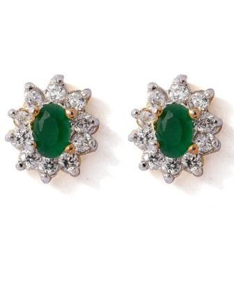 Voylla Shimmering Pair Of Stud Earrings Adorned With Cz And Green Color Stones