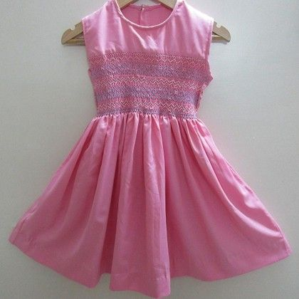Pink Baby Frock With Blue Diamond Design Smocking - Angel Closet