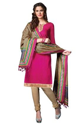 Pink Exclusive Dress Material With Bhagalpuri Silk Fancy Dupatta - Riti Riwaz