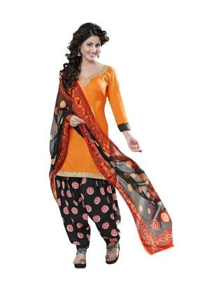 Orange Exclusive Cotton Satin Printed Dress Material With Matching Dupatta - Riti Riwaz