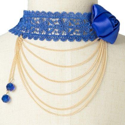 Blue Chokar With Flower And Lace Work - Fashion Fiesta