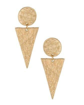 Voylla Glossy Gold Tone Spiky Dangler Earrings