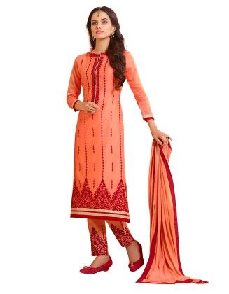 Orange Exclusive Straight Fit Dress Material With Nazmeen Fancy Dupatta - Riti Riwaz