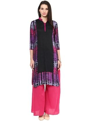 Black And Purple Tie Die Effect Printed Kurti - StyleStone