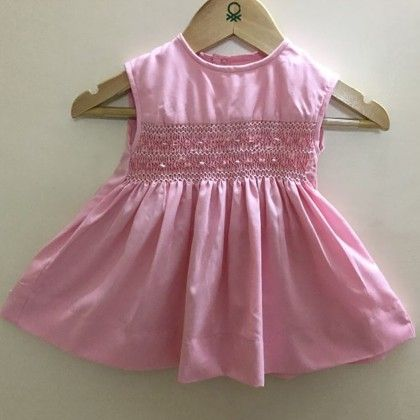 Pink Baby Frock With Diamond Design Smocking - Angel Closet