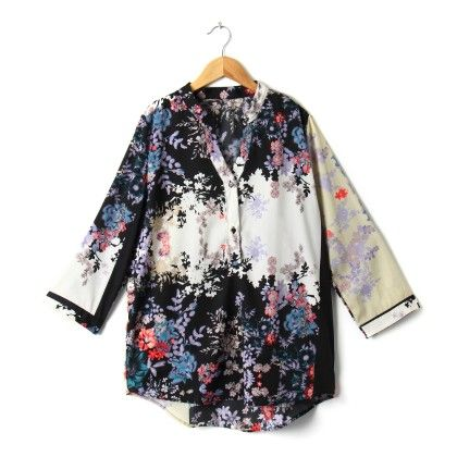 Floral Polster Shirt - Black - STUPA FASHION