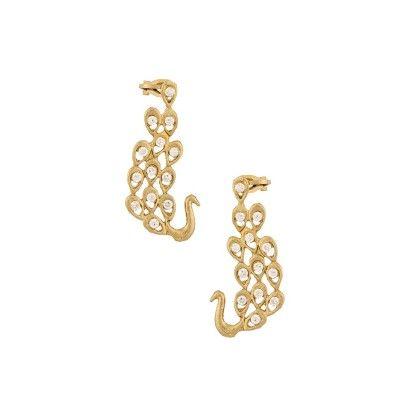 Peacock Ear Cuffs In Gold Tone - Voylla