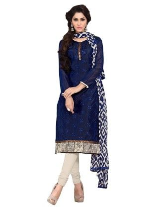 Navy Blue Embroidered Dress Material With Matching Dupatta - Riti Riwaz