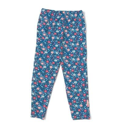 Blue Floral Printed Girls Leggings - Disney