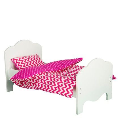Little Princess Doll Furniture-single Bed & Bedding Set-modern Chevron - Teamson Kids