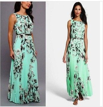 Elegant Round Neck Floral Print Long Prom Green Dress - Dell's World