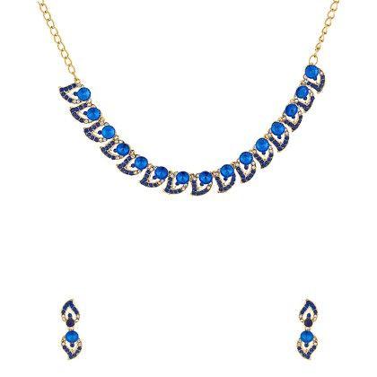 Classy Blue Stones Studded Necklace Set - Voylla