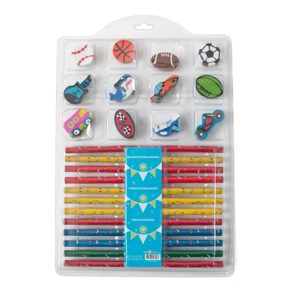 Pencil & Erasers (set Of 12) - Blue - It's All About Me
