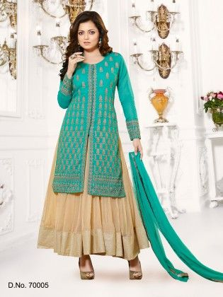 Teal Pure Chanderi Dress Material - Touch Trends Ethnic
