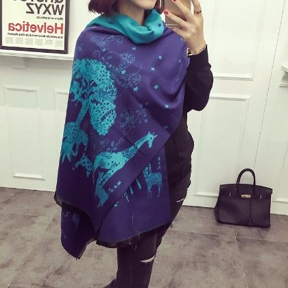 Blue Wildlife Printed Scarf - Glaze