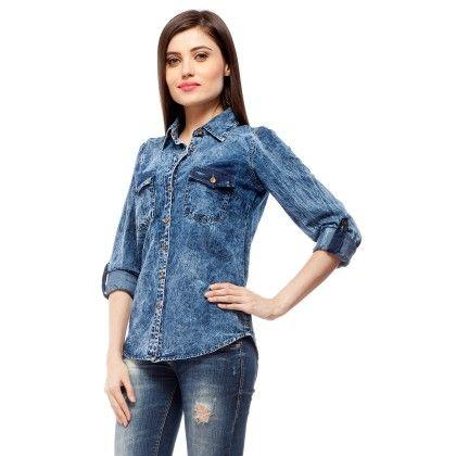 Blue Stone Washed Denim Full Sleeve Shirt - StyleStone