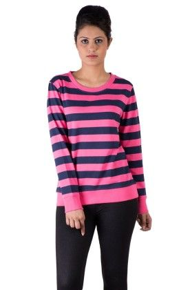 Sweat Shirts Tops Printed Cotton Pink - De Moza