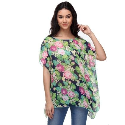 Multi-colour Busy Floral Printed Top - Varanga