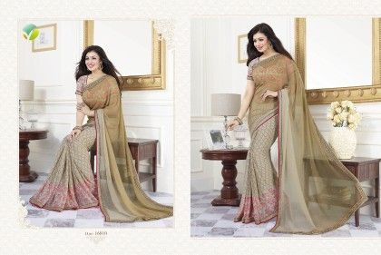Mahendi Green Half Printed Saree - Afreen
