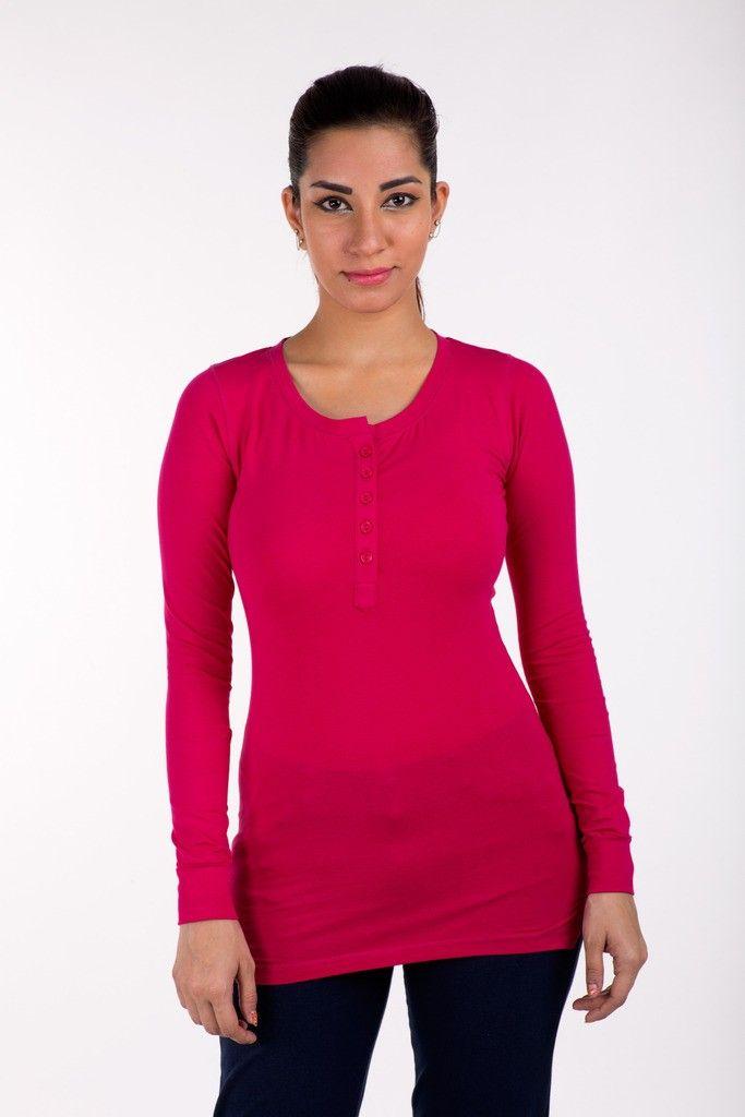Full Sleeve Tops Solid Cotton Lycra Fuchsia - De Moza