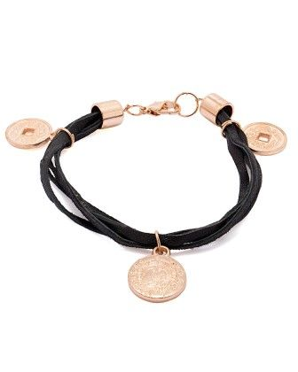 Voylla Leather Bracelet Adorned With Alloy Danglers