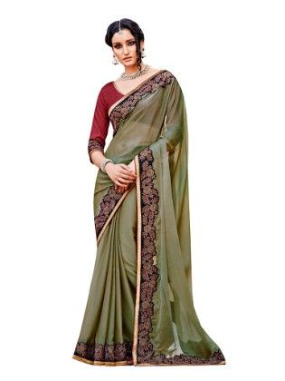 Sober Embroidery Resham Thread Work Olive Green Saree - Touch Trends Ethnic