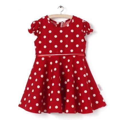 Short Sleeve With Polka Print Dress - Little Fairy